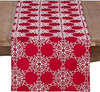"SARO LIFESTYLE Kirigami Collection Christmas Runner With Snowflake Design, 16"" x 70"", Red"