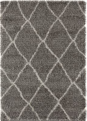 Rugs and Decor Moroccan Shag Area Rug, Grey