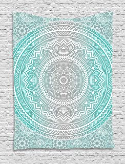 Ambesonne Grey and Aqua Tapestry, Ombre Traditional Universe with Tribal Geometric Mandala Artwork, Wall Hanging for Bedroom Living Room Dorm Decor, 40