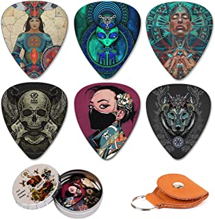 Guitar Picks 12 Medium Pack with Leather Picks Holder and Tin Box,Unique Artistic Celluloid Guitar Pick for Bass Electric ...