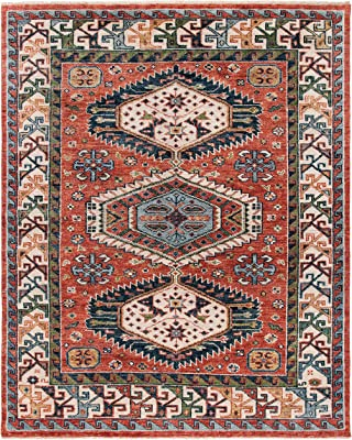 SAFAVIEH Samarkand Collection SRK119Q Hand-Knotted Traditional Oriental Premium Wool Living Room Dining Bedroom Area Rug 6' x 9' Red/Beige
