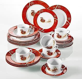 VEWEET, Serie SANTACLAUS, 30 Piezas vajillas de Porcelana, (
