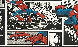 York Wallcoverings Disney Kids III Marvel Ultimate Spiderman Comic Border, Black