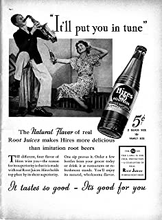 1937 Hires Root Beer -Real Root Juices -Original 13.5 * 10.5 Magazine Ad-5+10 Cents