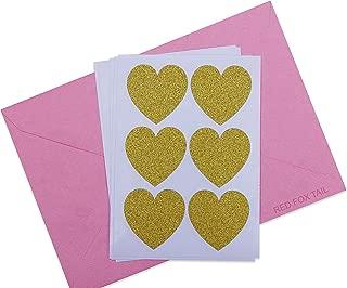 48 Gold Glitter Heart Stickers