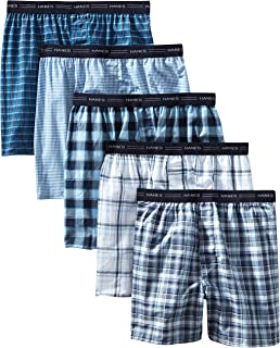 Hanes Men's 5-Pack Tagless, Tartan Boxer with Exposed Waistband, Assorted