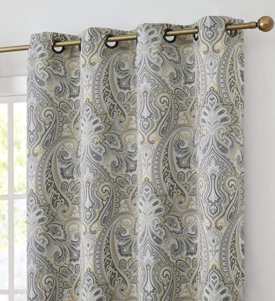 HLC ME Paris Paisley Decorative Print Damask Pattern Thermal Insulated Blackout Energy Savings Room Darkening Soundproof Grommet Window Curtain Panels For Bedroom Set Of 2 50 X 96 Long Grey Yellow
