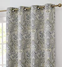 HLC.ME Paris Paisley Decorative Print Damask Pattern Thermal Insulated Blackout Energy Savings Room Darkening Soundproof Grommet Window Curtain Panels for Bedroom, Set of 2 (50 x 84 Long, Grey/Yellow)