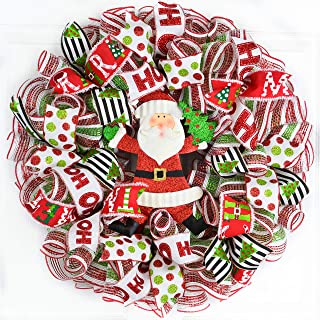 Santa Claus Wreath | Christmas Mesh Outdoor Front Door Wreath; White Red Emerald Green