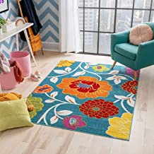 Well Woven StarBright Daisy Flowers Modern Floral Blue 5' x 7' Kids Area Rug