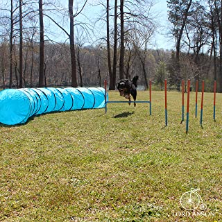 Lord Anson™ Dog Agility Set - Dog Agility Equipment - 1 Dog Tunnel, 6 Weave Poles, 1 Dog Agility Jump - Canine Agility Set for Dog Training, Obedience, Rehabilitation
