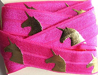 Unicorn Pink Gold Foil 5/8 Fold Over Elastic Crafts Hair Bands
