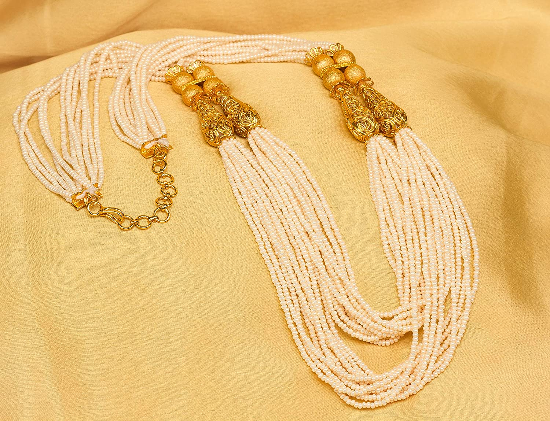 Bindhani Indian Bollywood Jewelry Wedding Bridal Bridesmaid Royal Rajasthani Kundan Long Moti Beads Pearl Mala Rani Haar Gold Plated Multi Layered Necklace Earrings Set Jewellery for Women
