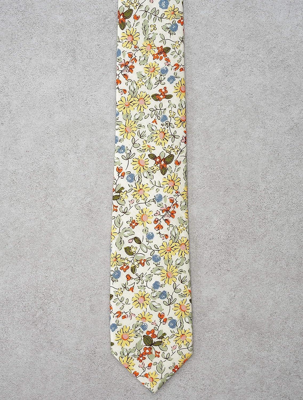 Belluno Floral Skinny Tie for Men, Print Flower Necktie for Wedding, Groomsmen, Missions, Dances, Cotton Slim Tie + Gift Box