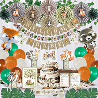 SHERONV Woodland Baby Shower Decorations Kit Greenery Neutral Forest Animals Theme Party Supplies for Boy or Girl With Welcome Baby Banner,Leaf Vines,Paper Fan,Balloons,Cake flag for Parties