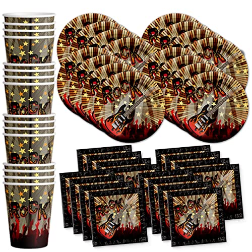 1ed0c364d627b Birthday Galore Rock Star Party Supplies Set Plates Napkins Cups Tableware  Kit for 16