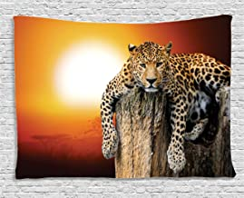 Ambesonne Safari Tapestry, Leopard Sitting on Dry Tree at Sunset Danger in The Air Big Cat with Spotted Form, Wide Wall Hanging for Bedroom Living Room Dorm, 80