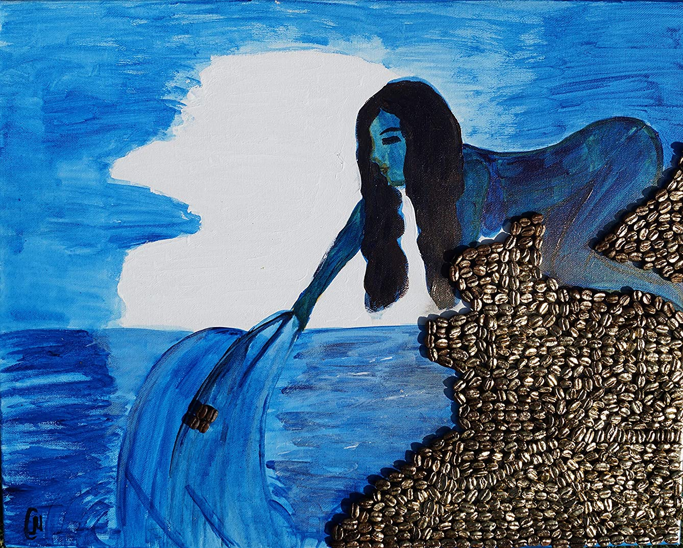 Undine, Drawing, Art, Watercolor Painting with Real Coffee Beans. 100% Handmade.