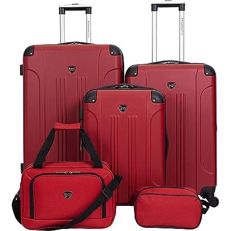Travelers Club Sky+ Luggage Set, Red, 5 Piece