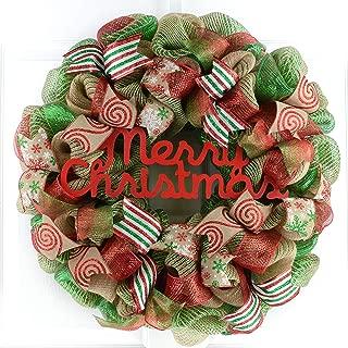 Rustic Merry Christmas Wreath   Mesh Christmas Outdoor Front Door Wreath   Red Jute Green Burlap