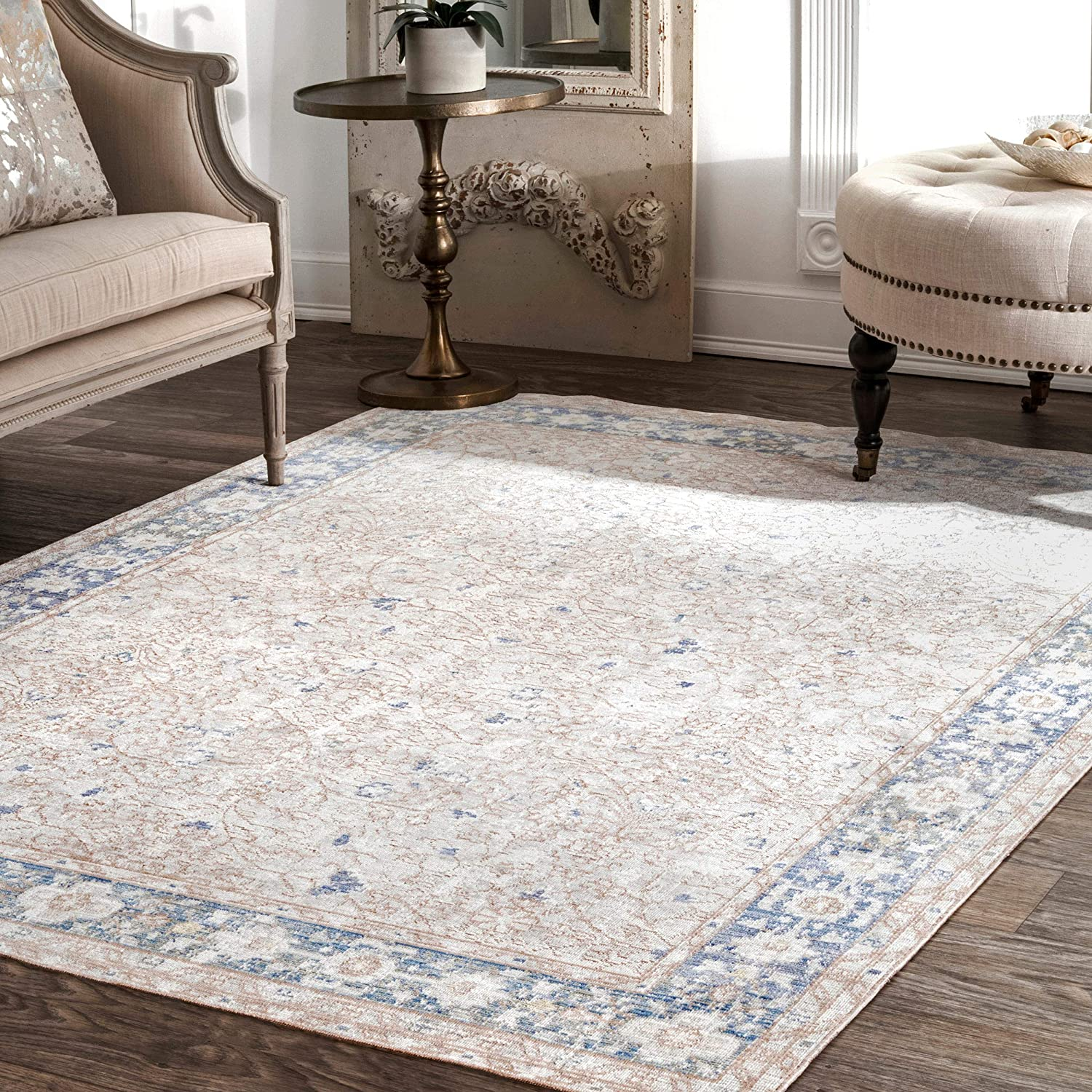 nuLOOM Karla Vintage Area Rug Now free shipping 4' Blue National uniform free shipping 6