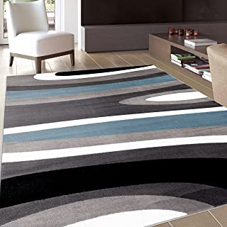 Abstract Contemporary Modern Blue Area Rug 5' 3
