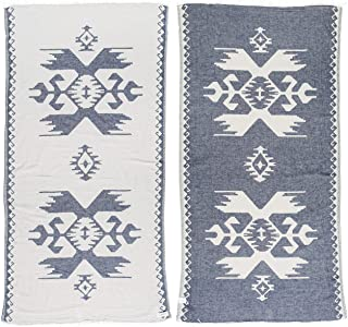 Bersuse 100% Cotton Oaxaca Dual-Layer Handloom Turkish Towel - 39X71 Inches, Dark Blue