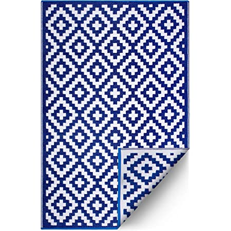 FH Home Outdoor Rug - Reversible - Indoor Use, Kids Room, Mudroom - Stain Resistant, Easy to Clean Weather Resistant Floor Mats - Aztec - Blue & White (6 ft x 9 ft)