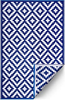 Best FH Home Indoor/Outdoor Recycled Plastic Floor Mat/Rug - Reversible - Weather & UV Resistant - Aztec - Blue & White (6 ft x 9 ft) Review