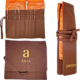 Artists Paint Brush Holder, 20 Slots Paint Brush Storage Canvas Roll up Pouch for Acrylic Oil Watercolor, Dark Brown ANYA ...