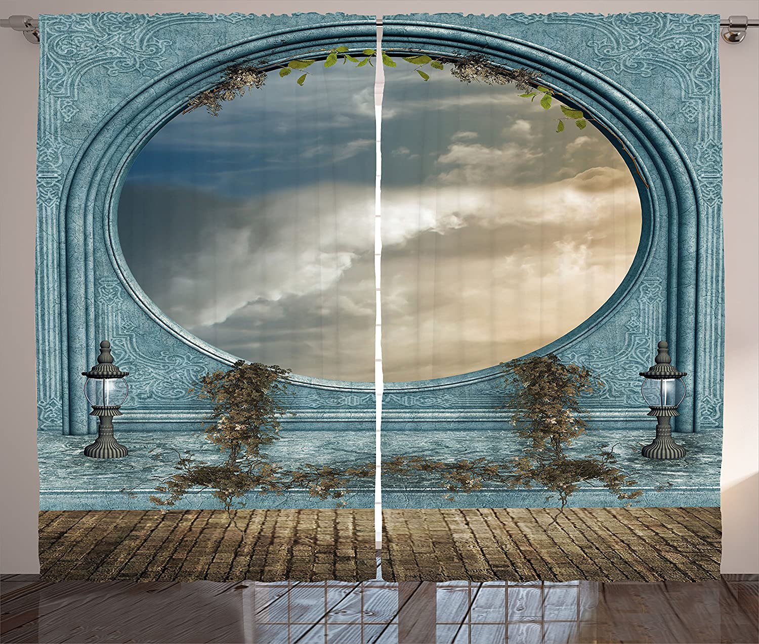 Ambesonne Landscape Max 58% OFF Curtains Antique and Round Ba Window Shaped free