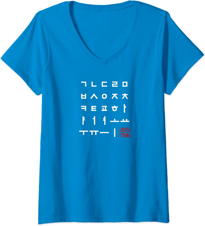 Amazon.com: Womens Korean Alphabet Hangul Matrix Women V-Neck T