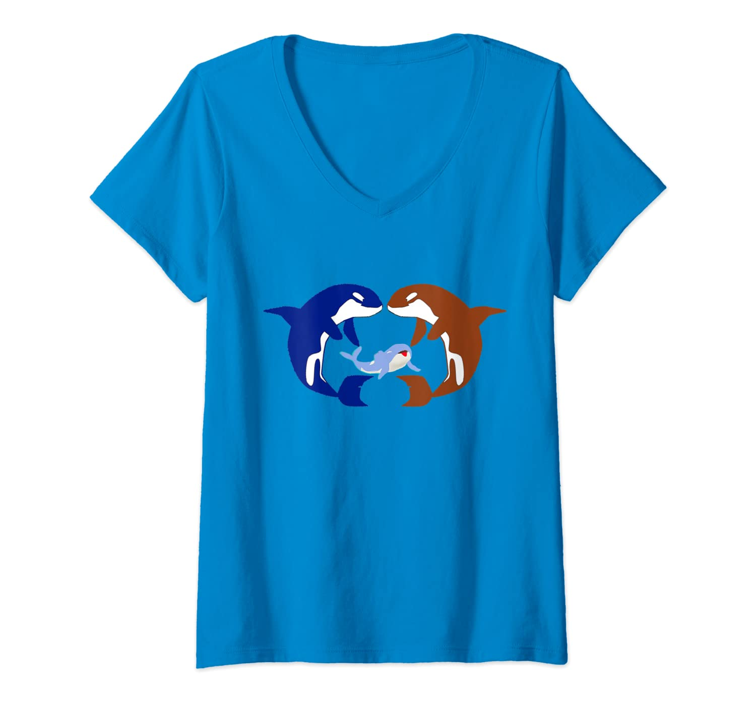 Womens Funny Orca Lovers Gift Animal American Orca Whale V-Neck T-Shirt-ANZ