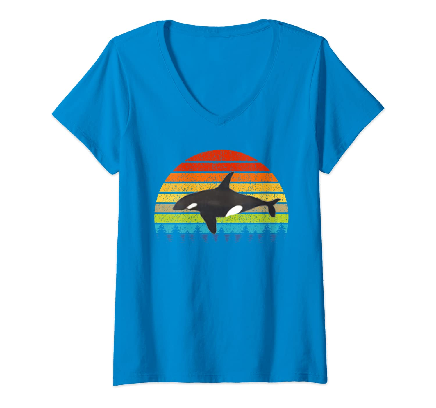 Womens Orca Lovers Gift Retro Vintage Animal American Orca Whale V-Neck T-Shirt-ANZ