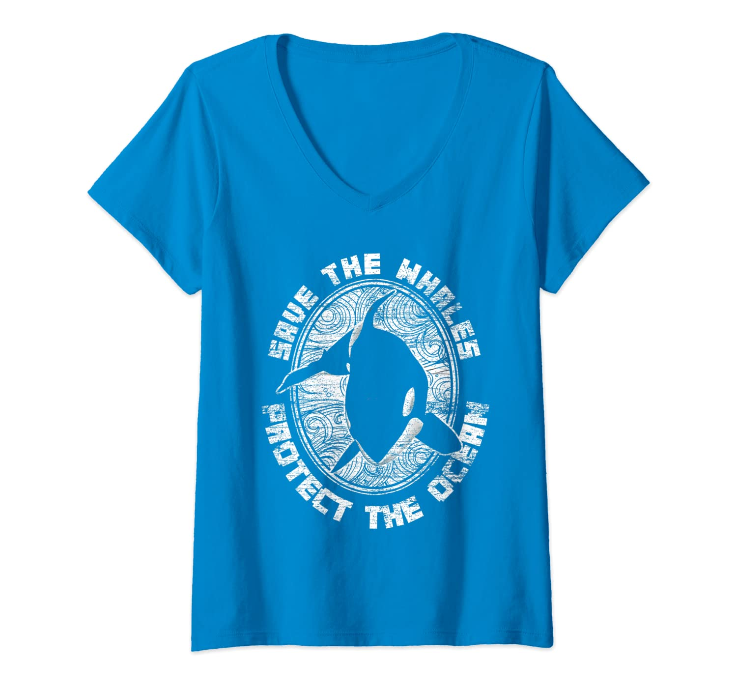 Womens Save The Whales Protect The Ocean Orca V-Neck T-Shirt