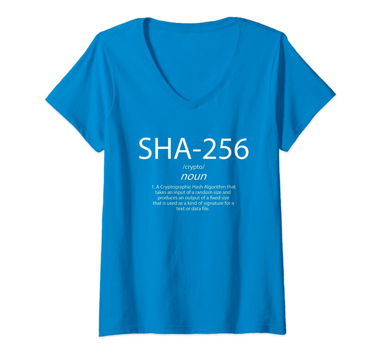 3bc1d8ab103a Amazon.com: Womens SHA-256 Definition - Bitcoins Blockchain Hashing  Algorithm V-Neck T-Shirt: Clothing