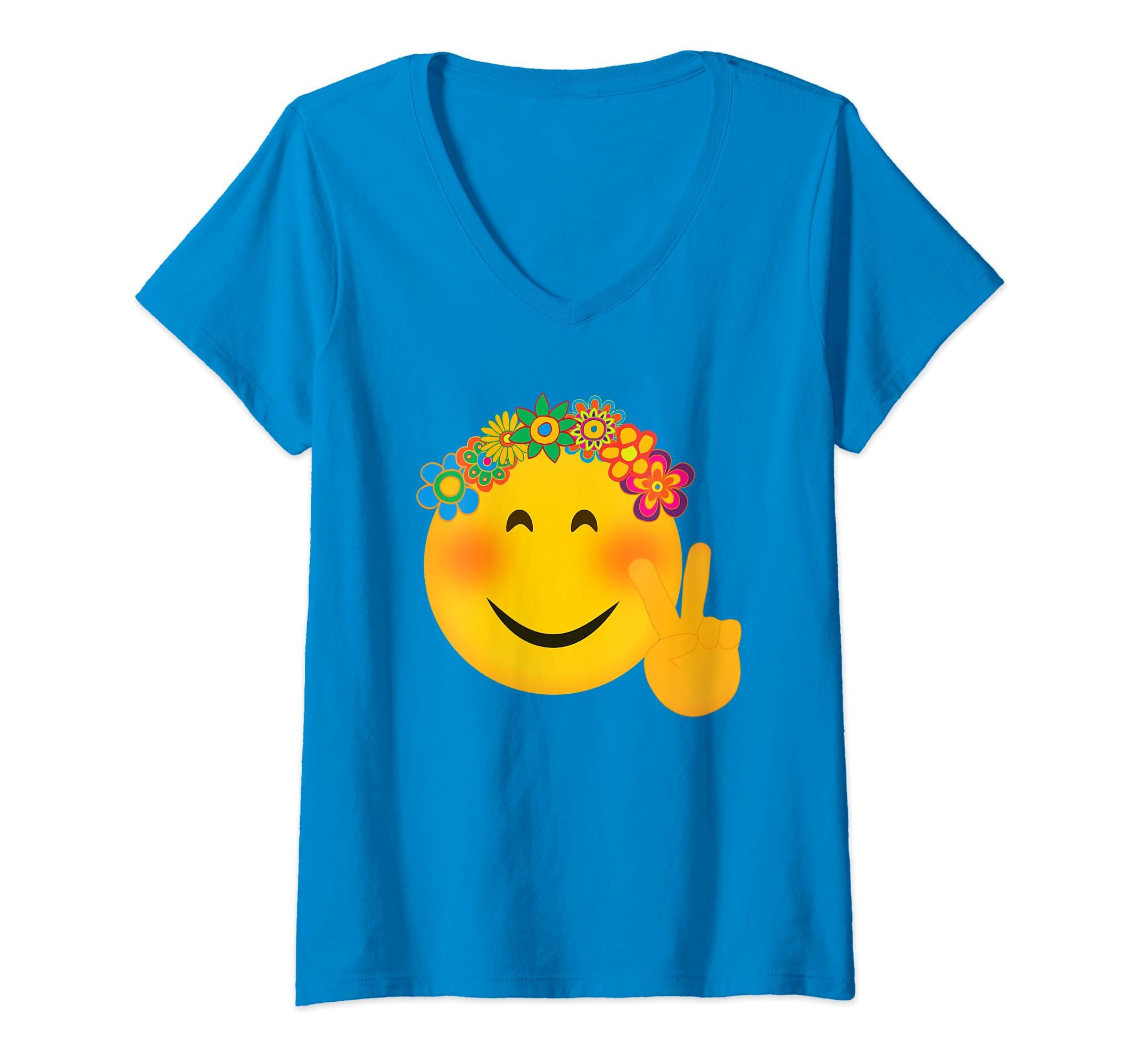 Amazon com: Womens Hippie Emoji TShirt Funny Hippy Peace Hand Sign