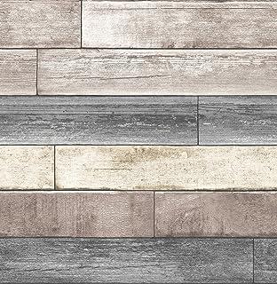 NuWallpaper NU3130 Peel & Stick Reclaimed Wood Plank Natural Peel and Stick Wallpaper