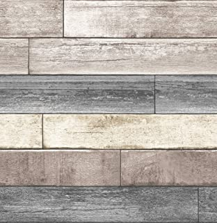 NuWallpaper NU1690 Peel & Stick Reclaimed Wood Plank Natural Peel and Stick Wallpaper