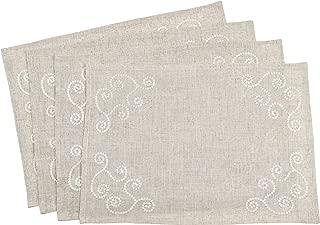 SARO LIFESTYLE 001.N1420B Swirl Embroidered Placemat/001.N1420B, 14