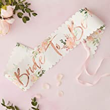 Ginger Ray Rose Gold Foiled Floral Bride To Be Bachelorette Party Sash