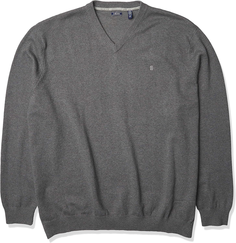 IZOD Men's Big Premium Essentials Solid V-Neck 7 Gauge Sweater