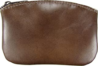 North Star Men's Large Leather Zippered Coin Pouch Change Holder (5 X 3.5 X 0.25 Inches, Distressed Brown)