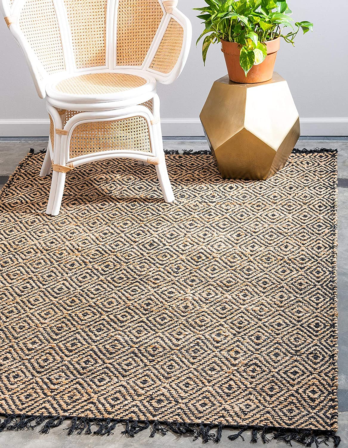 Unique Loom Braided Jute Collection Hand Woven Natural Fibers Natural Area Rug (3' x 5')