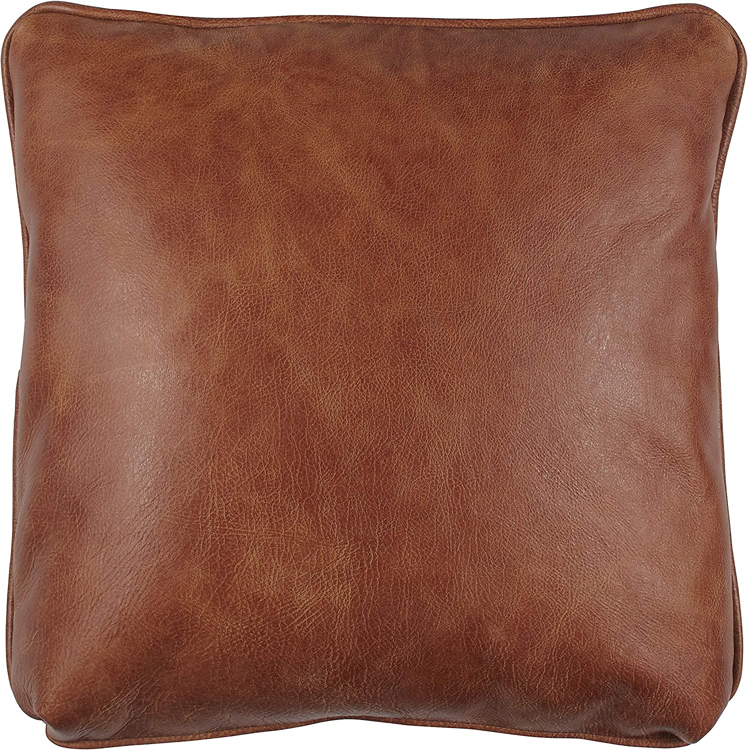 Stone & Beam Rustic 100% Top Grain Leather Pillow, 19 , Badlands Saddle