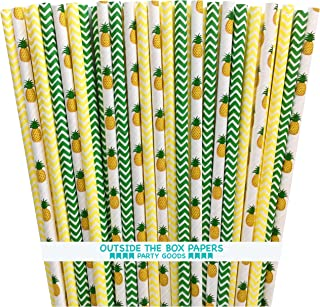 Pineapple and Chevron Paper Straws - Green Yellow White - Hawaiian Luau - 7.75 Inches - 100 Pack - Outside the Box Papers Brand