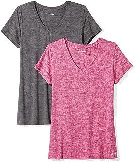 Amazon Essentials 2-Pack Tech Stretch Short-Sleeve V-Neck T-Shirt Mujer, Pack de 2