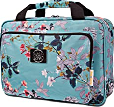 Large Hanging Travel Cosmetic Bag For Women - Versatile Toiletry And Cosmetic Makeup Organizer With Many Pockets (Turquoise flowers)