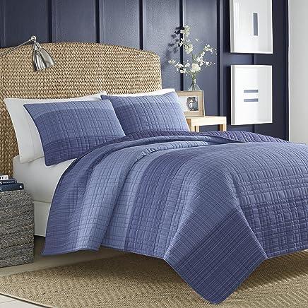 Nautica Riverview Cotton Pieced Quilt,  Full/Queen - Blue,  217414
