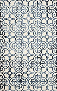 Safavieh Dip Dye Collection DDY711P Handmade Moroccan Geometric Watercolor Ivory and Navy Wool Area Rug (8' x 10')